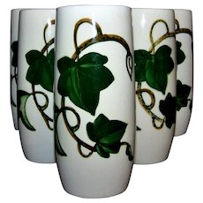 Vintage Metlox California Ivy Pattern Ceramic Tumbler Set
