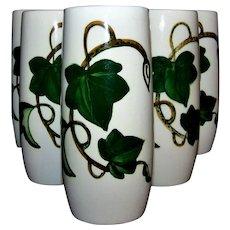 Vintage Metlox California Ivy Pattern Ceramic Tumbler Set