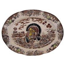 Vintage 1950's Made In Japan Transferware Turkey Platter