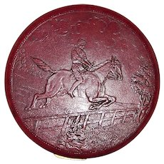 Vintage 1940's Rex Fifth Avenue Equestrian Embossed Red Leather Ladies Mirrored Compact