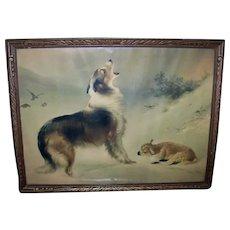 Antique Walter S. Hunt Framed Chromolithograph Shepherds Call