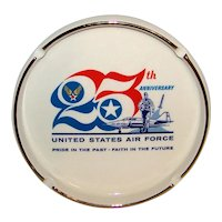 Vintage 1972 United States Air Force 25th Anniversary Ceramic Cigarette Ashtray