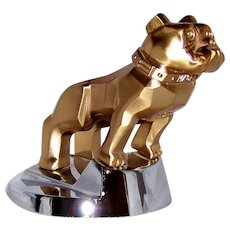 Vintage Mack Truck Polished Gold and Chrome Figural Dog Paperweight