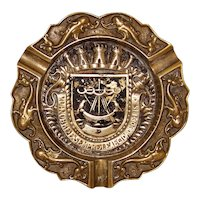 Vintage Brass Ashtray With Lisbon Coat Of Arms