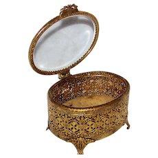 Vintage 1940's Footed Hollywood Regency Stylebuilt Gold Filigree Ormolu Jewelry Casket