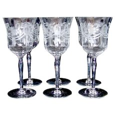 Vintage Cambridge Wheel Cut Glass Stemware Set