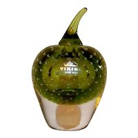 Vintage 1973 Viking Bullicante Controlled Bubble Green Glass Apple Paperweight