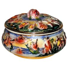 Vintage Italian Capodimonte Hand Painted Lidded Candy Dish