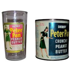 Vintage 1940's Pair Of Peter Pan Peanut Butter Containers