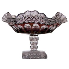 Vintage Westmoreland Waterford Ruby On Crystal Footed Compote