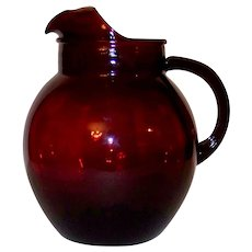 Vintage Anchor Hocking Roly Poly Ruby Red Glass Ball Pitcher