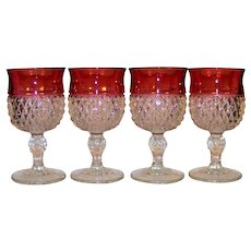 Vintage Set Of Indiana Glass Company Diamond Point Ruby Flash Water Glasses