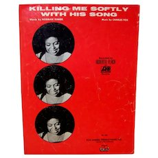 Vintage 1972 Roberta Flack Sheet Music Killing Me Softly