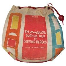 Vintage Model #660 Playskool Duffle Bag Of Colored Blocks