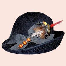 Vintage Ladies 1940's Henry Pollak Inc. Glenover Fawn Tra Felt Hat