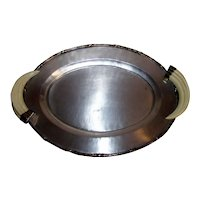 Vintage Ranch Style Chrome Serving Tray With Simulated Horn Handles
