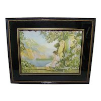 Vintage Dunialski Chromolithograph With  Reverse Painted Glass Frame