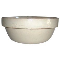 Antique Crock Pottery Salt Glazed Mixing Bowl