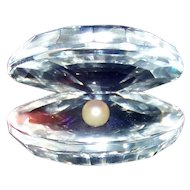 Vintage Swarovski Crystal Oyster Shell With Pearl