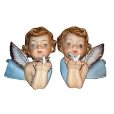 Vintage Matched Pair Of Hand-Painted Matte Finished Ceramic Angels