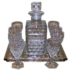 Vintage Fostoria American Clear Crystal Scotch Decanter Set