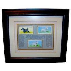 Vintage Framed Display Of Scottish Terrier Dogs On 1937 Wills Cigarette Tobacco Cards
