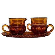 Vintage 1970's Colony Kings Crown Amber  Sugar, Creamer & Tray Set