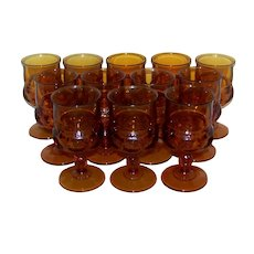 Vintage 1970's Colony Kings Crown Amber Water Goblet Set