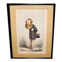 Antique 1860's Vanity Fair Original Framed Chromolithograph Cartoon Portrait