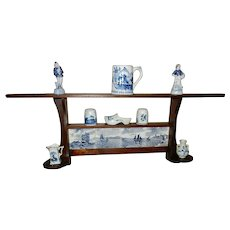 Vintage Dutch Nautical Motif Wall Shelf with Blue Delft Items