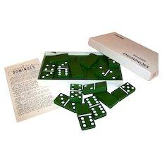 Vintage Puremco #616 Marblelike Green Domino Set