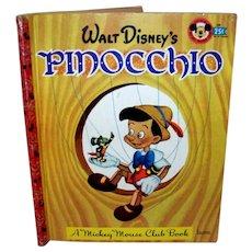 Vintage 1948 Walt Disney Mickey Mouse Book Club Pinocchio Book