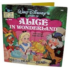 Vintage 1979 Walt Disney See Hear Read Alice In Wonderland Book