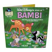 Vintage 1977 Walt Disney See Hear Read Bambi Book