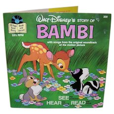 Vintage 1977 Walt Disney See Hear Read Bambi Book