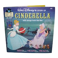 Vintage 1977 Walt Disney See Hear Read Cinderella Children's Book