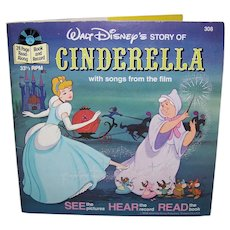 Vintage 1977 Walt Disney See Hear Read Cinderella Children's Book