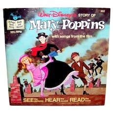 Vintage 1977 Walt Disney See Hear Read Mary Poppins Book