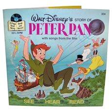 Vintage 1977 Walt Disney See Hear Read Peter Pan Children's Book