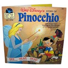Vintage 1977 Walt Disney See Hear Read Pinocchio Children's Book