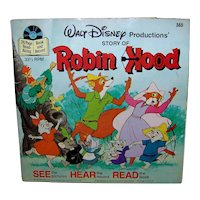 Vintage 1977 Walt Disney See Hear Read Robin Hood Children's Book