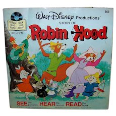 Vintage 1977 Walt Disney See Hear Read Robin Hood Children's Book