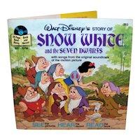 Vintage 1977 Walt Disney See Hear Read Snow White Children's Book