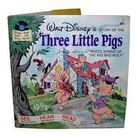 Vintage 1978 Walt Disney See Hear Read Three Little Pigs Children's Book