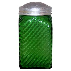 Vintage 1930's Indiana-Owens Emerald Green Ribbed Glass Hoosier Shaker