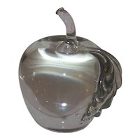 Vintage Clear Glass Apple Controlled Bubble Paperweight
