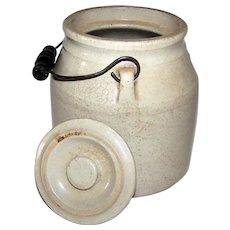 Antique Stoneware Handled Food Crock