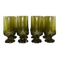 Vintage 1970's Tiffin Fransican Madeira Olive Green Glassware Set
