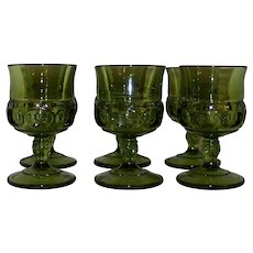 Vintage 1950's Indiana Glass Company Kings Crown Olive Green Footed Juice Glassware Set