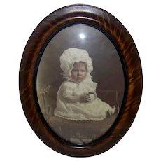 Vintage 1923 Original Oval Convex/Bubble Glass Tiger Stripe Wood Framed Studio Baby Portrait